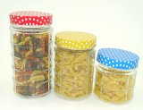 Recipientes de vidro do doce da cozinha do frasco do armazenamento do parafuso à moda quadrado