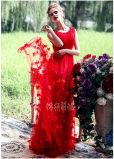 新しい方法熱い販売の床の長さの恋人の取り外し可能なトレイン(WD86)が付いているオーガンザによって玉を付けられるプロムの服