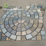 St-014 Yellow Wood Slate Square Meshed Paving Stone pour Landscape