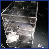 Caja de almacenamiento de 2016 de la venta caliente de acrílico del maquillaje con el cristal perillas