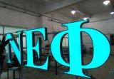 金属のアルミニウムハウジングの壁に取り付けられた広告のアクリルの文字の印