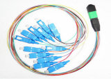 12ファイバー3m MPO/MTP-LCの繊維光学の端末増設機構のパッチ・コード