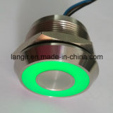 Interruptor capacitivo iluminado verde inoxidable del acero 12V 25m m