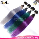 Burgunder/Purpurrote/Rote/Grün-/grauer Ton-brasilianische Haar-Extensionen der Ombre Menschenhaar-Webart-9A zwei