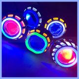 Quadratischer runde Form-Fabrik-Großverkauf-Motorrad-Scheinwerfer färbt Projekt-Objektiv der Options-LED mit Engels-Augen