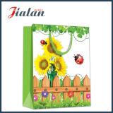 glatte lamellierte Sonnenblume-kaufengeschenk-Papierhandtaschen des überzogenen Papier-128GSM