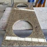 Верхние части тщеты гранита Giallo орнаментальные для ванной комнаты