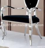 Presidenza di salotto moderna del tessuto di banchetto di cerimonia nuziale con il blocco per grafici dell'acciaio inossidabile