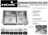 """33-1/2 radius de l'acier inoxydable """" X19-1/2 """" sous le bassin de cuisine fabriqué à la main de cuvette de double d'égale de support"""