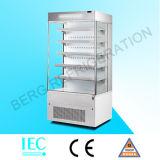 Refrigerador comercial do indicador da cortina de ar aberto do supermercado