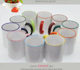 Direkt Factory Wholesale Cheap Highquality Rim und Handle Color 11oz Sublimation Coated Mugs