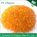 Sol de mosaïque parquetant les roches en verre oranges cassées