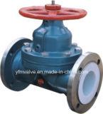 Tipo alinhado PFA do Weir da válvula de diafragma da roda de mão