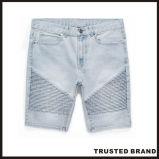 Moto-Воодушевлянная джинсовая ткань помытая индигом замыкает накоротко джинсыы (GW12)