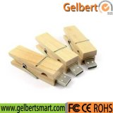 Eco-Friendly Wooden Material Clip USB Flash Drive pour cadeau