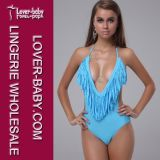 Blue (L3203-3)에 있는 여자 Sexy Bikini Swimwear One Piece
