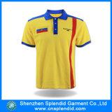 Chemise 100% de polo faite sur commande de coton de jaune avec des T-shirts de polo de manchette