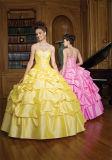 ビーズのひだのテュルのプロムの服Quinceaneraはカスタマイズされる舞踏服にガウンを着せる