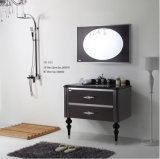Schwarzes New Fashion Design Sliver auf Wall Modern Edelstahl Two Drawers Bathroom Mirrored Cabinet (YB-913)