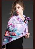 絹の花によって印刷される大きい正方形のスカーフ