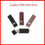 돋을새김된 로고를 가진 가죽 USB 섬광 드라이브
