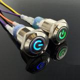 Iluminado en el anillo del acero inoxidable LED interruptor de botón