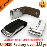 형식 Custom Logo Metal Leather USB Flash Drive 2/4/8/16/32/64GB