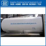 El tanque criogénico horizontal del CO2 del argón del nitrógeno del oxígeno líquido