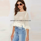 Mode Pullover Femmes Hollow Tassels Short Sweater Ladies Wear