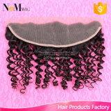 Encierro frontal de la tapa del pelo del cordón sin procesar sin procesar 13X4 de los accesorios del pelo humano