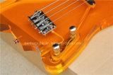 Musique de Hanhai/guitare basse électrique orange avec le corps en verre acrylique