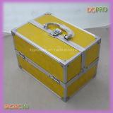 A parte externa amarela brilhante fácil carreg a caixa cosmética pequena da vaidade (SACMC143)