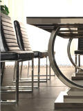 現代中国のホームガラス金属の食堂の家具