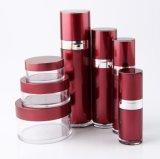 Botella privada de aire de la loción del tarro poner crema de acrílico rojo de Set3 PP para el empaquetado del cosmético (PPC-CPS-014)