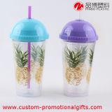 16oz 재사용할 수 있는 플라스틱 명확한 밀짚 공이치기용수철 컵