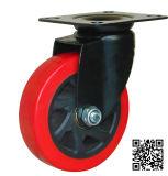 5 Inch Red PU Swivel Caster für Hand Trolley