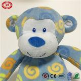 Jouet brodé bleu de singe de peluche bourré par coton 100% de yeux
