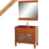 Fed-1076A integrierte Glaswäsche-Bassin-Leuchte-Kirsche, die preiswerte festes Holz-Badezimmer-Schränke beendet