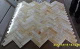 高品質の黄色いヘリンボンモザイク蜂蜜のオニックス大理石の浴室