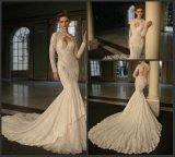 Vestido de novia de manga larga de la sirena del cordón vestido de novia B16322