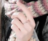 Anello d'argento antico delle donne di amore del cuore dell'intarsio dell'annata (SRI0024-B)