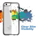 Boîtier transparent noir avec panneau arrière transparent dur pour iPhone 6s