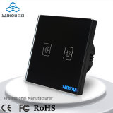 2gang 1way Electric Switch EU Standard Black Panel Wall Touch Switch