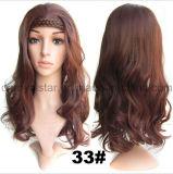 Lockiges Haar-Hochtemperaturperücken der synthetischen Faser-1/2 mit Hairband