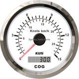 Alta calidad 85m m Black/bisel GPS Speedometer Velometer 15 Knots de White Stainless Steel para Marine