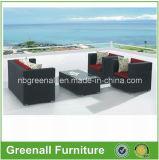 屋外の藤または枝編み細工品のソファーの一定の庭の家具