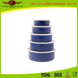 Singolo Color 5PCS Enamel Salad Bowl Set con Plastic Lid