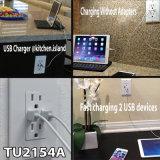 4A 고속 이중 USB 충전기 출구 및 2개의 벽 격판덮개