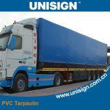 Het aangepaste Geteerde zeildoek van de Dekking van de Vrachtwagen van pvc met Embleem