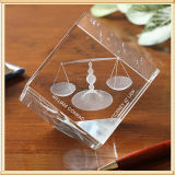 3D laser Crystal Glass Cube Gifts Glass Paperweight (KS04097)